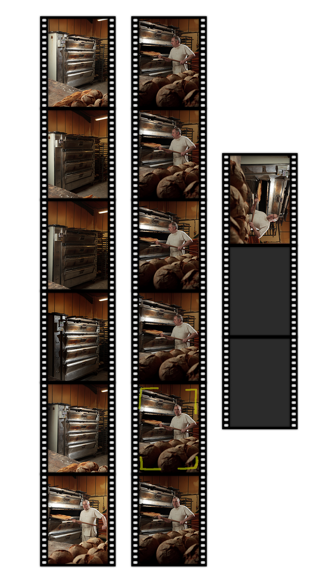 Mocked up film strip showing a shoot at a bakery